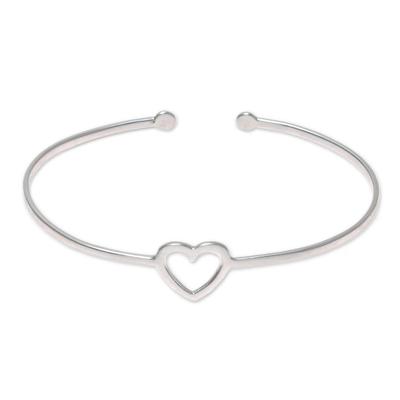 Sterling silver cuff bracelet, 'Love Gleams' - Sterling Silver Heart Cuff Bracelet from India