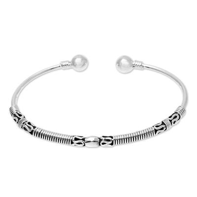 Sterling silver cuff bracelet, 'Creative Bliss' - Handcrafted Sterling Silver Cuff Bracelet from India