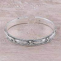Sterling silver cuff bracelet, 'Om Delight' - Om Pattern Sterling Silver Cuff Bracelet from India