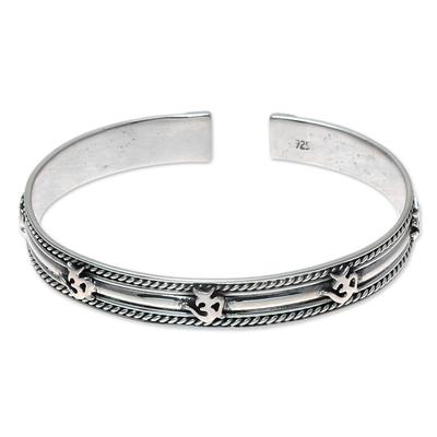 Sterling silver cuff bracelet, 'Om Delight' - Om Pattern Sterling Silver Cuff Bracelet from India