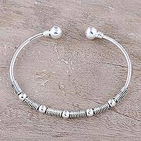 Sterling silver cuff bracelet, 'Heavenly Orbs'
