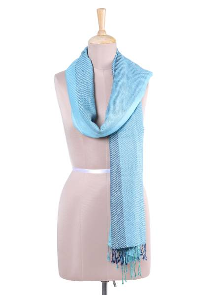 3e97b5391 Silk scarf, 'Sea Shimmer' - Handwoven Blue and Green Silk Wrap Scarf from