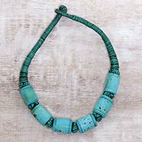 Bone beaded necklace, 'Bold Sky' - Turquoise and Black Buffalo Bone Bead Cotton Cord Necklace