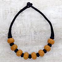 Bone beaded necklace, 'Shining Sand' - Brown Buffalo Bone Bead on Black Cotton Cord Necklace
