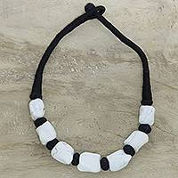 Bone beaded necklace, 'Salt and Pepper' - White Buffalo Bone Bead on Black Cotton Cord Necklace