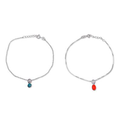 Multi-gemstone charm bracelets, 'Dainty Duo in Orange and Blue' (pair) - Multiple Gemstone Sterling Silver Charm Bracelets (Pair)