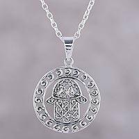 Sterling silver pendant necklace, 'Encircled Hamsa' - Sterling Silver Hamsa Motif Circular Pendant Necklace