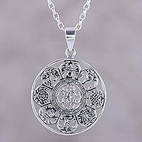 Sterling silver pendant necklace, 'Sacred Eight' - Ashtamangala Motifs Sterling Silver Pendant Necklace