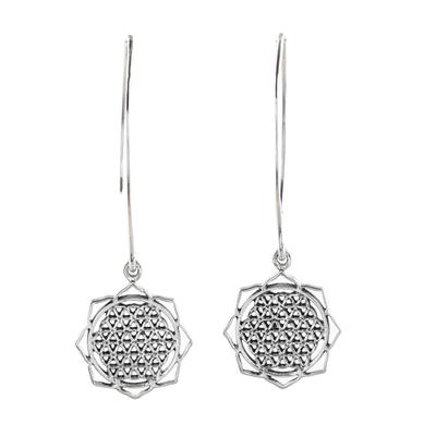 Sterling silver dangle earrings, 'Shri Yantra Mantra Glory' - Shri Yantra Mantra Motif Sterling Silver Dangle Earrings