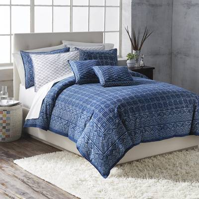 Cotton duvet cover set, 'Rajasthani Indigo' - Hand Screen Printed Indian Cotton Duvet Cover and Shams