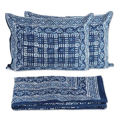 Cotton duvet cover set, 'Rajasthani Indigo' - Hand Block Printed Indian Cotton Duvet Cover and shams