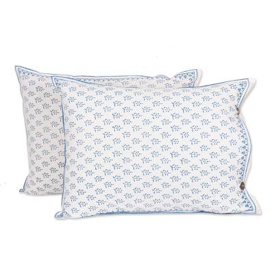 Cotton pillow shams, 'Rajasthani Meadow' (pair) - Hand Block Print Cotton Pillow Shams (Pair)