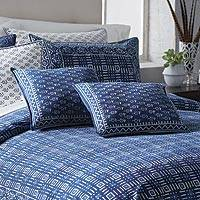 Cotton accent pillow covers, 'Rajasthani Indigo' (pair) - Hand Block Print Cotton Cushion Covers (Pair)