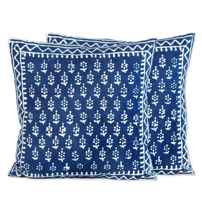 Cotton accent pillow covers, 'Rajasthani Indigo' (pair) - Hand Screen Print Cotton Cushion Covers (Pair)