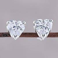 Sterling silver stud earrings, 'Glittering Heart' - Sterling Silver and CZ Heart Stud Earrings from India