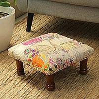 Recycled cotton patchwork ottoman, 'Garden Recycling' - Floral Recycled Cotton Patchwork Ottoman from India