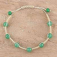 Quartz beaded macrame bracelet, 'Green Attraction' - Green Quartz Beaded Macrame Bracelet from India