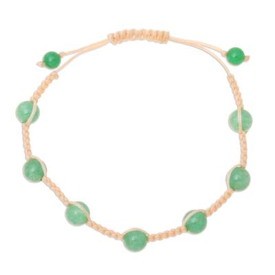 Green Quartz Beaded Macrame Bracelet from India