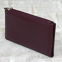 Leather wallet, 'Classic Woman in Maroon'