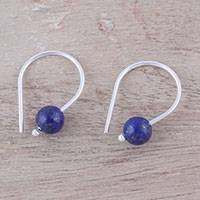 Lapis lazuli drop earrings, 'Sea Droplet' - Lapis Lazuli Round Bead and Sterling Silver Drop Earrings