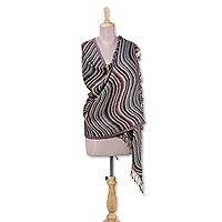 Viscose blend shawl, 'Mystical Waves' - Jacquard Wave Pattern Viscose Blend Shawl from India