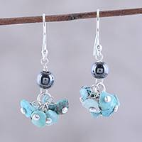Turquoise and hematite dangle earrings, 'Dancing Turquoise' - 925 Sterling Silver Hematite and Turquoise Dangle Earrings