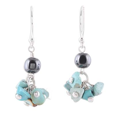 925 Sterling Silver Hematite and Turquoise Dangle Earrings