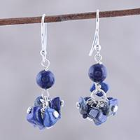 Lapis lazuli dangle earrings, 'Dances in Blue' - 925 Sterling Silver and Lapis Lazuli Dangle Earrings