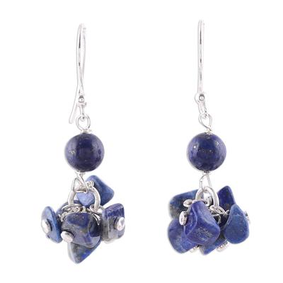 Lapis lazuli dangle earrings, 'Dances in Blue' - 925 Sterling Silver and Lapis Lazuli Dangle Earrings