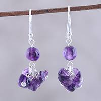 Amethyst dangle earrings, 'Dances in Purple' - Handcrafted 925 Sterling Silver and Amethyst Dangle Earrings