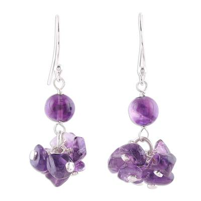 Handcrafted 925 Sterling Silver and Amethyst Dangle Earrings
