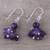 Amethyst dangle earrings, 'Dances in Purple' - Handcrafted 925 Sterling Silver and Amethyst Dangle Earrings (image 2b) thumbail