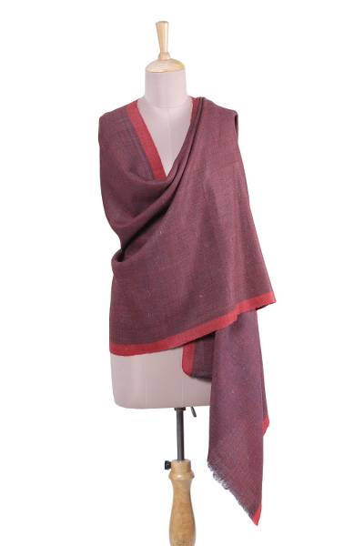 Wool shawl, 'Warm Kashmir in Chili' - Handwoven Wool Shawl in Chili from India