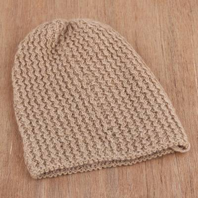 Wool blend hat, 'Himalayan Waves Ecru' - Hand-Knit Wool Blend Hat in Ecru from India
