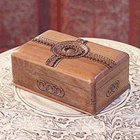 Wood jewelry box, 'Concentric Flowers' - Handmade Floral Walnut Wood Jewelry Box from India