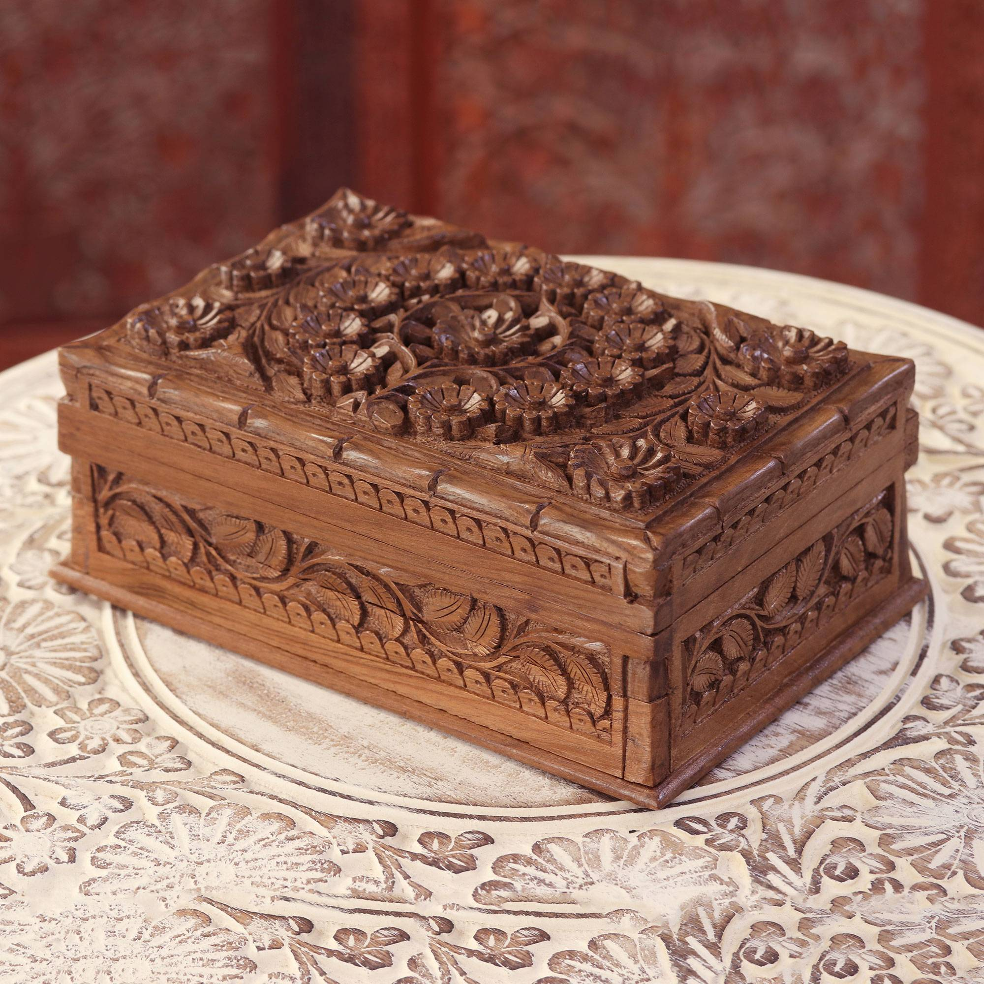 Hand-Carved Walnut Wood Jewelry Box from India - Blossoms of Kashmir |  NOVICA