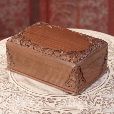 Wood jewelry box, 'Chinar Elegance' - Chinar Pattern Walnut Wood Jewelry Box from India