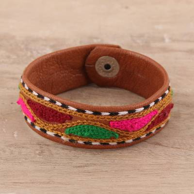 Embroidered leather wristband bracelet, 'Vibrant Waves' - Embroidered Leather Wristband Bracelet from India