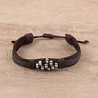 Leather wristband bracelet, 'Heavenly Beads' - Diamond Pattern Leather Wristband Bracelet from India