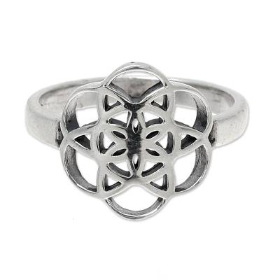Sterling silver band ring, 'Floral Illusion' - Geometric Sterling Silver Band Ring from India