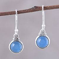Chalcedony dangle earrings, 'Happy Glow' - Round Chalcedony Dangle Earrings from India