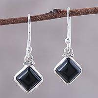 Onyx dangle earrings, 'Happy Kites in Black' - Square Onyx Dangle Earrings Crafted in India