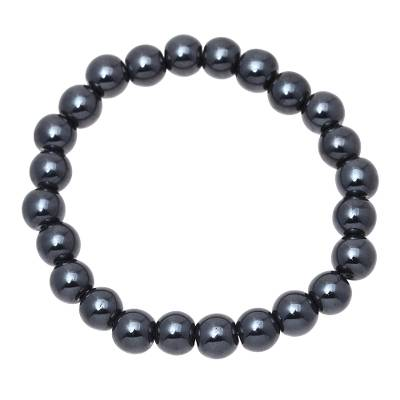 Handmade Hematite Elastic Beaded Bracelet from India