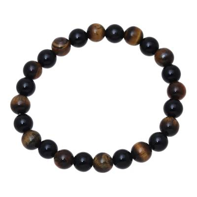 Tiger's eye and onyx beaded stretch bracelet, 'Silent Forest' - Handmade Tiger's Eye and Black Onyx Elastic Bracelet