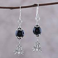 Onyx dangle earrings, 'Lotus Passion' - Onyx Lotus Flower Dangle Earrings from India