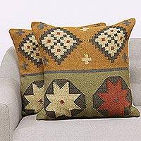 Jute cushion covers, 'Geometric Reflection' (pair) - Geometric Pattern Jute Cushion Covers from India (Pair)