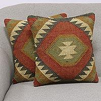 Jute cushion covers, 'Creative Fusion' (pair)