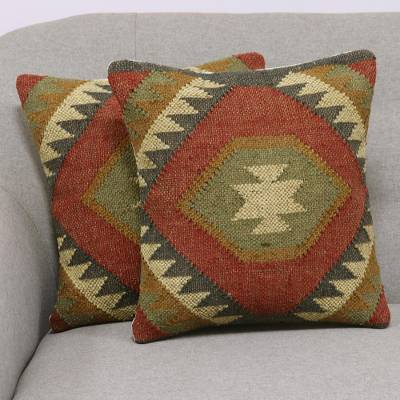 Jute cushion covers, 'Creative Fusion' (pair) - Jute Cushion Covers with Geometric Patterns (Pair)