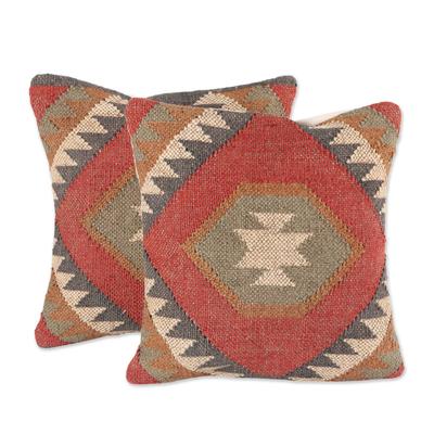 Jute cushion covers, 'Creative Fusion' (pair) - Jute Cushion Covers with Geometric Patterns (Pair)