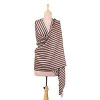 Wool blend shawl, 'Striped Queen in Copper' - Handwoven Striped Wool Blend Shawl in Copper from India